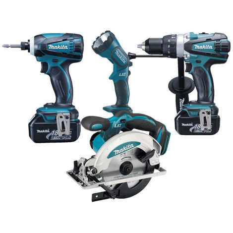 Makita LXT400 Ensemble de 4 machines à batteries 18V Li-Ion (2x batterie 3,0Ah) dans sac