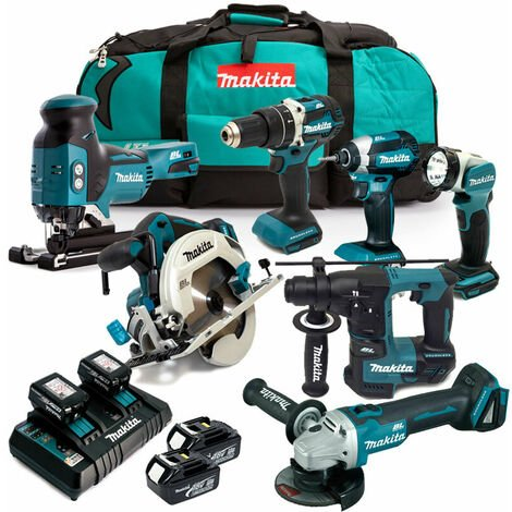 Makita MAK7KIT4X3 LXT 18V Cordless 7pc Kit with 4x 3.0Ah Batteries