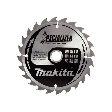 Makita MAKB09173 B-09173 Specialized Wood Blade for Cordless Saws 165 x 20mm x 24T