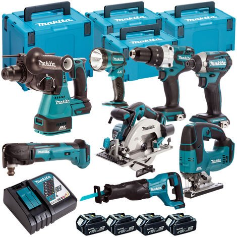 Makita MAKKIT8B 8 Piece 18V 4 x 5.0Ah LXT Cordless Power Tool Kit Build-A-Kit
