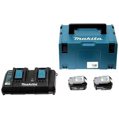 MAKITA Pack 2 batteries 18V 5Ah + chargeur DC18RD + MakPac - 197629-2