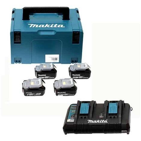 MAKITA Pack 4 batteries 18V 4Ah + chargeur double DC18RD - 197503-4