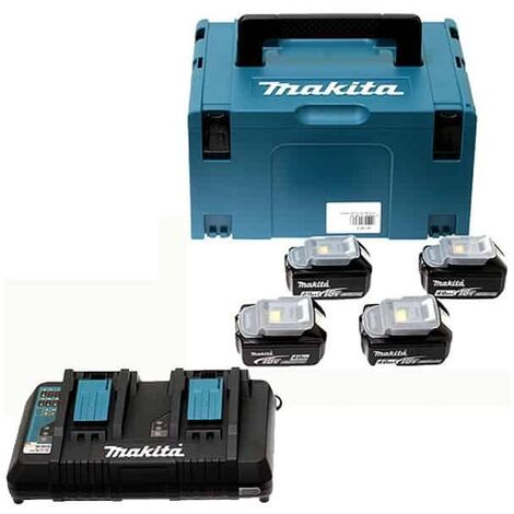MAKITA Pack 4 batteries 18V 5Ah + chargeur double DC18RD - 197626-8
