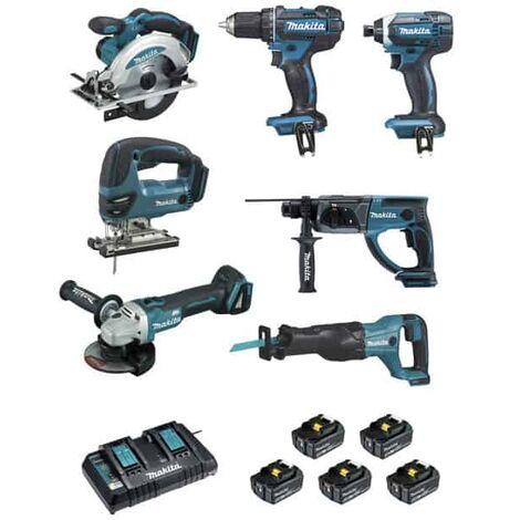 MAKITA Pack 7 outils 18V 5x5Ah - DLX7013PT1