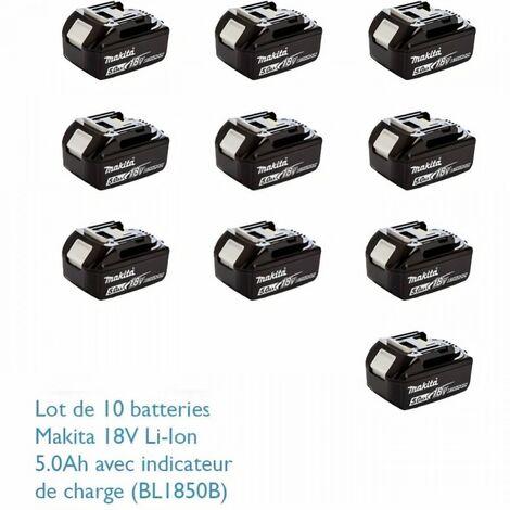 "main image of ""MAKITA Pack de 10 batteries BL1850B avec témoin de charge - 18 V 5Ah Li-ion"""