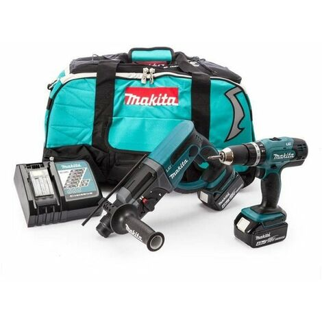 MAKITA Perceuse a percussion, perforateur burineur SDS plus DLX2025M avec 2 batteries 18V 4Ah Li-ion et sac de transport