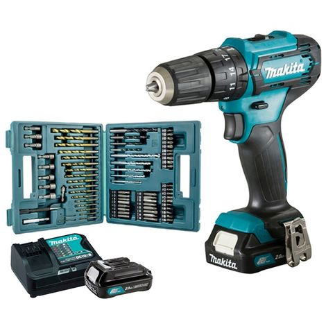 Makita Perceuse visseuse à percussion 12V max. / 2,0 Ah 2 x BL1021B + Chargeur DC10SB - HP333DSAX1