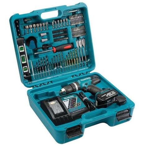 MAKITA Perceuse visseuse a percussion - 1x18 V Li-Ion 3 Ah Ø 13 mm (coffret + kit de 101 accessoires) -DHP453SFTK