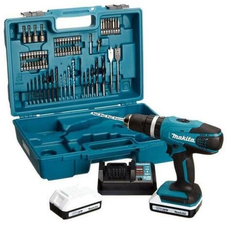 """main image of """"Makita HP 457 DWE10 Perceuse-visseuse à percussion sans fil 18 V G-Serie + 2x Batteries 1,5 Ah + Chargeur + 71 Pièces d'accessoires"""""""
