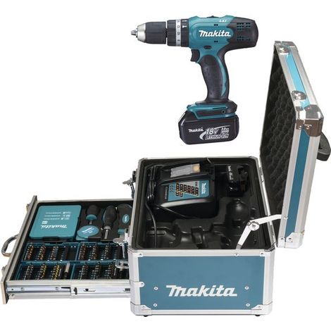 Makita DHP453RFX2 Perceuse visseuse a percussion 18 V 2 batteries 18 V 3,0 Ah, Chargeur rapide