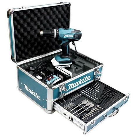 MAKITA Perceuse-visseuse a percussion HP457DWEX4 avec 2 batteries 18V 1,3Ah Li-ion, mallette en aluminium et 74 accessoires