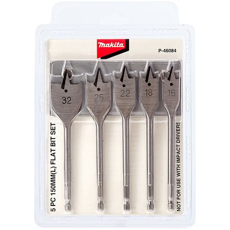 Makita Performance Flat Bit Set 5pc
