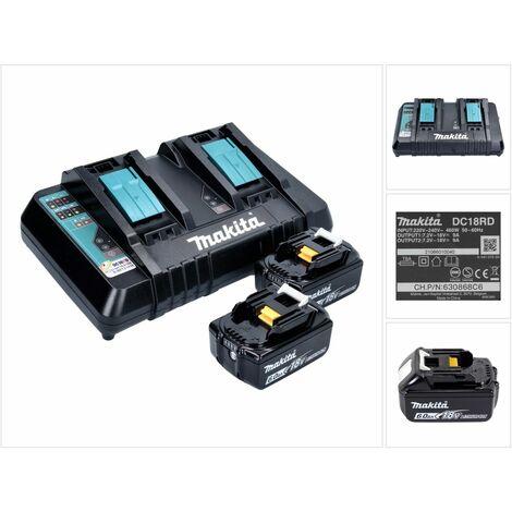 Makita Power Source Kit 18V - 2x Batterie BL1860B 6,0Ah + Caricabatterie doppio DC18RD ( 199484-8 )