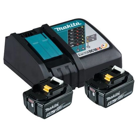 Makita Power Source Kit 18V 5,0 Ah Ladegerät DC 18 RC 2x BL1850B 197570-9