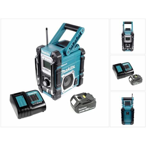 Makita Radio DMR 106 7,2 - 18 V Radio de chantier sans fil avec Bluetooth + 1x Batterie 5,0 Ah + Chargeur