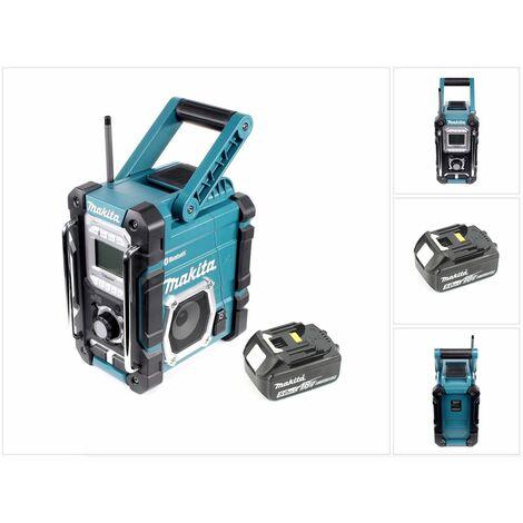 Makita Radio DMR 106 7,2 - 18 V Radio de chantier sans fil avec Bluetooth + 1x Batterie 5,0 Ah - sans chargeur