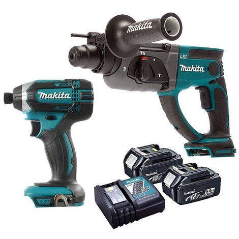 Makita Rotary Hammer Drill & Impact Driver with 2 x 5.0Ah Batteries & Charger:18V