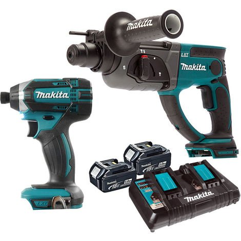 Makita Rotary Hammer Drill & Impact Driver with 2 x 5.0Ah Batteries & Dual Port Charger
