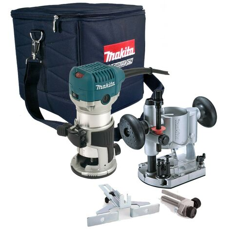 """Makita RT0700C 110V 1/4"""" Corded Plunge Fixed Base 2 in 1 Router Trimmer +Guide"""