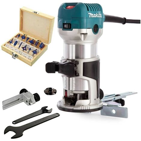 """Makita RT0700CX4 1/4"""" Router / Laminate Trimmer with Trimmer Guide 240V +Bit Set"""
