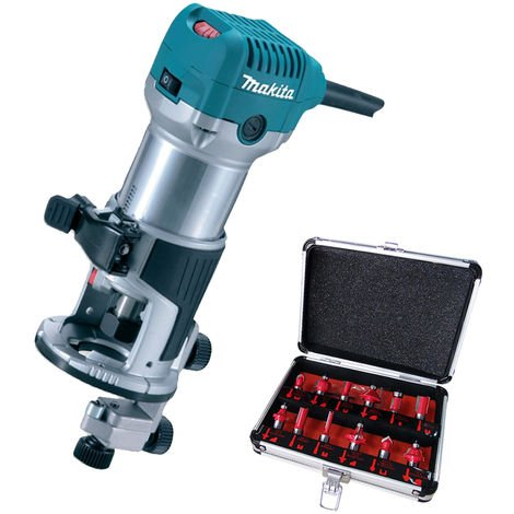 Makita RT0700CX4 1/4inch Router / Trimmer 110V with 12 Piece Cutter Set:110V