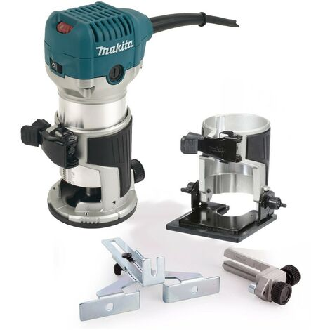 """Makita RT0700CX4 110V 1/4"""" Router Laminate Trimmer with Guide and Bevel Base"""