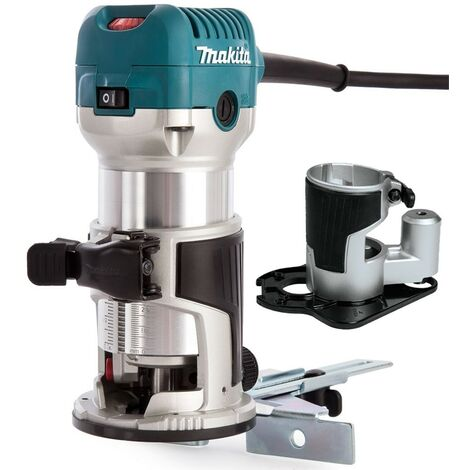 """Makita RT0700CX4 110V 1/4"""" Router Laminate Trimmer with Guide and Offset Base"""