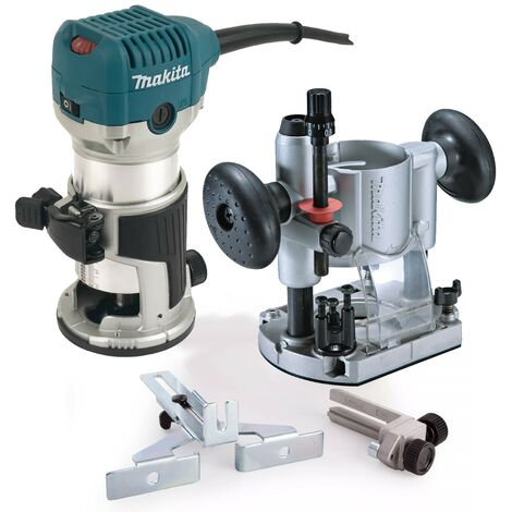 """Makita RT0700CX4 240V 1/4"""" Router Laminate Trimmer with Guide and Plunge Base"""