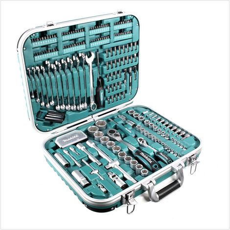 Makita Set d'outils de 227 Pièces + Mallette de transport verrouillable ( P-90532 ) avec Embouts, Cliquets et Clés