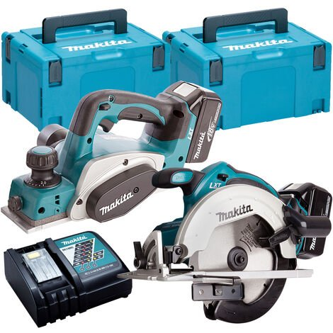 Makita T4T1180TJ 18V 165mm Circular Saw + 82mm Planer Twin Pack with 2 x 5.0Ah Batteries & Charger in Case:18V