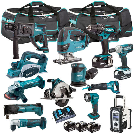 Makita T4T13051PT 18V LXT 13 Piece Kit 5 x 5.0Ah Batteries with Dual Port Charger:18V