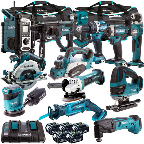 Makita T4T13052PT 18V LXT 13 Piece Kit 5 x 5.0Ah Batteries With Dual Port Charger:18V
