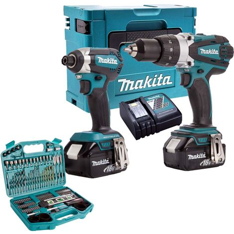 """main image of """"Makita T4T5853TJ 18V Twin Pack 2 x 5Ah Batteries Charger & 101 Piece Drill Set:18V"""""""