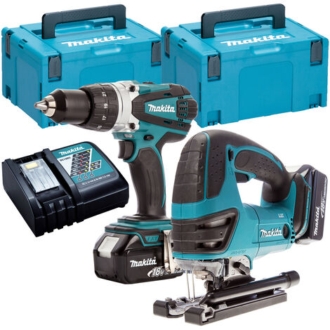 Makita T4T5880TJ 18V Combi Drill + Jigsaw Twin Pack with 2 x 5.0Ah Batteries & Charger in Case:18V