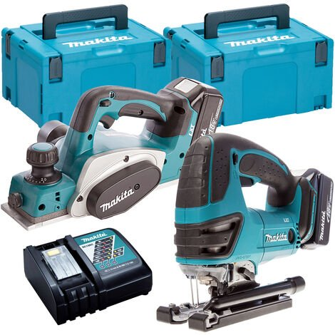 Makita T4T8080TJ 18V 82mm Planer + Jigsaw Twin Pack with 2 x 5.0Ah Batteries & Charger in Case:18V