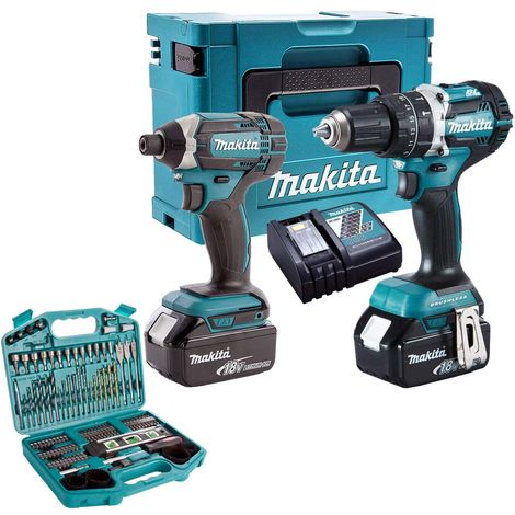Makita T4T8452TJ 18V Twin Pack 2 x 5Ah Batteries Charger & 101 Piece Drill Set:18V