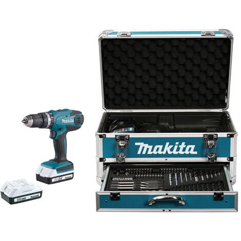 Makita - Taladro atornillador de percusión 18V Li-Ion 1.3Ah (con maleta en aluminio, set de accesorios, 2 baterías y 1 cargador) - HP457DWEX4