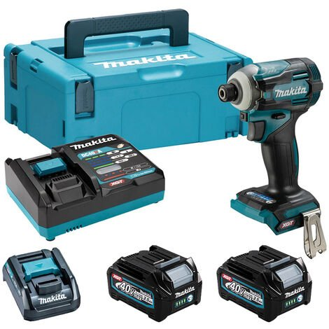 """Makita TW004GD203 40V Max XGT Brushless 1/2"""" Impact Wrench Kit with 2 x 2.5Ah Battery & Charger in Case:40V"""