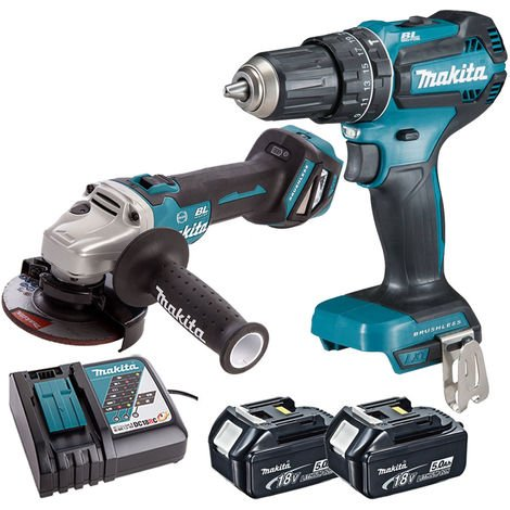 Makita Twin Pack Angle Grinder + Combi Drill with 2 x 5.0Ah Batteries & Charger