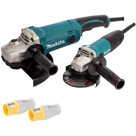 Makita Twin Pack Angle Grinder DK0056 110V with 2 x Plug Socket