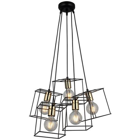 Mako Hanging Lamp - Chandelier - Ceiling Lamp - Black, Gold made of Metal, 43 x 43 x 117 cm, 5 x E27, 40W