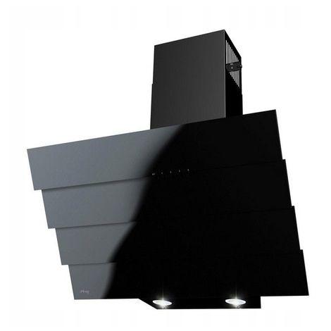 MALAGA   Hotte aspirante décorative cuisine moderne 50cm   Modes: Extraction/Recyclage   Verre trempé/acier LED 52 dB   Noir - Noir