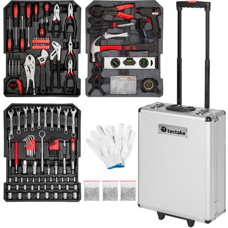 Maleta de herramientas de aluminio con 799 elementos - trolley con bandejas para uso profesional, caja de herramientas con ruedas y asa telescópica, maletín para trabajo en taller con herramientas - negro