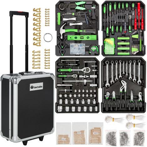 Maleta de herramientas de aluminio de 1200 elementos - trolley con bandejas para uso profesional, caja de herramientas con ruedas y asa telescópica, maletín para trabajo en taller con herramientas - negro