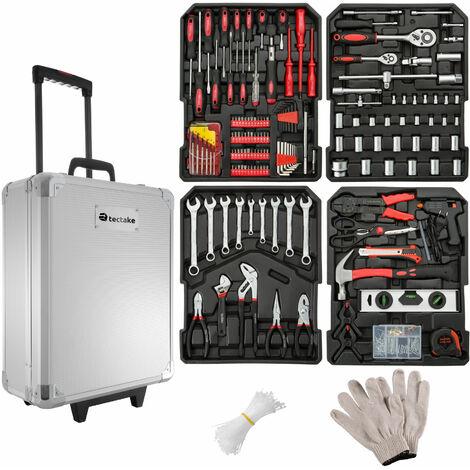Maleta de herramientas Tim - trolley con bandejas para uso profesional, caja de herramientas con ruedas y asa telescópica, maletín para trabajo en taller con herramientas - plata