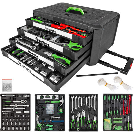 Maleta de herramientas trolley, con 4 cajones – 610 piezas - trolley con bandejas para uso profesional, caja de herramientas con ruedas y asa telescópica, maletín para trabajo en taller con herramientas - negro
