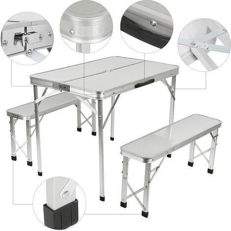 "main image of ""Maleta Plegable Mesa de Camping 91 cm x 67,5 cm x 70,5 cm + 2 Bancos de Aluminio Marrón"""