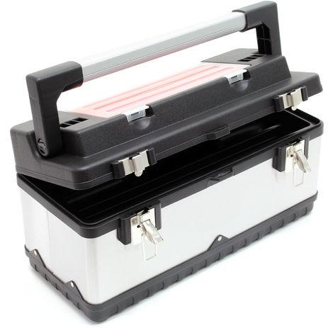 Maletín de herramientas 50,5x23,5x25,5cm acero inoxidable marco plástico con portaherramientas y asa