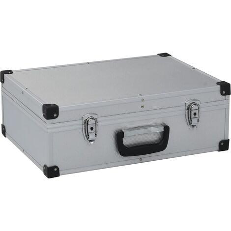 Maletín de herramientas aluminio plateado 46x33x16 cm