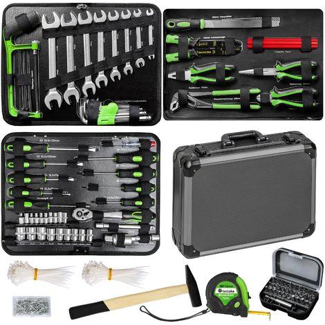Maletín de herramientas de 500 piezas - maleta con compartimentos, caja de herramientas robusta de uso universal, maletín para trabajo en taller con herramientas - gris
